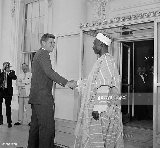 President John F Kennedy greets the first Nigerian Prime Minister Abubakar Tafawa Balewa at the White House