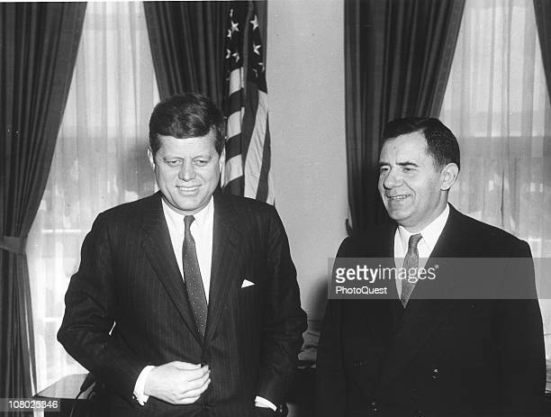 US President John F Kennedy meets Soviet Foreign Minister Andrei Gromyko in the White House Washington DC March 27 1961
