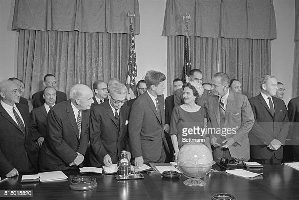 President John F Kennedy meets with his Committee for Equal Employment Opportunity at the White House Kennedy said that his administration will act...