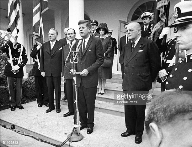 US President John F Kennedy proclaims Sir Winston Churchill an honorary citizen of the United States during a ceremony at the White House 10th April...