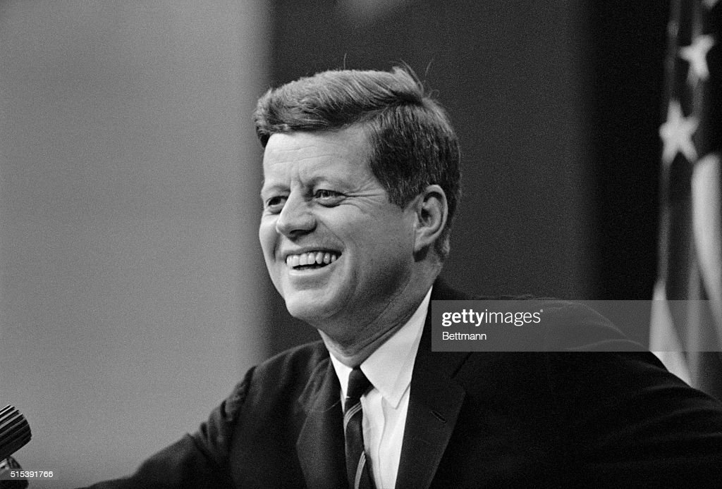 President John F. Kennedy, shown during his news conference at the State Department today, said it was 'a mistake' for the Defense Department investigators to suggest use of lie detectors in checking on who gave a newsman an Air Force memorandum charging abuse by Senate committee aides.