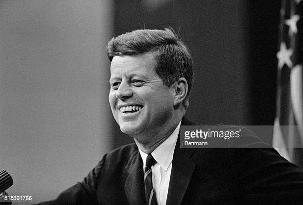 """President John F. Kennedy, shown during his news conference at the State Department today, said it was """"a mistake"""" for the Defense Department..."""