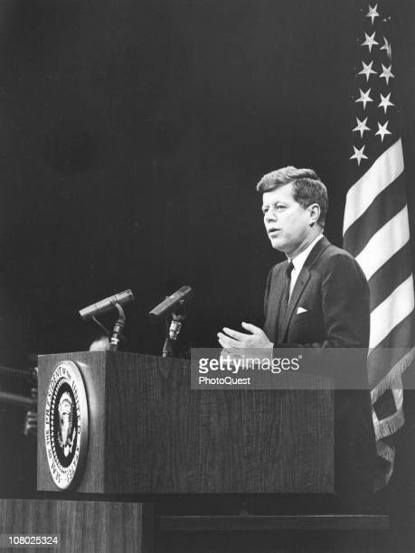 US President John F Kennedy speaks at the State Deparment Washington DC March 1 1961
