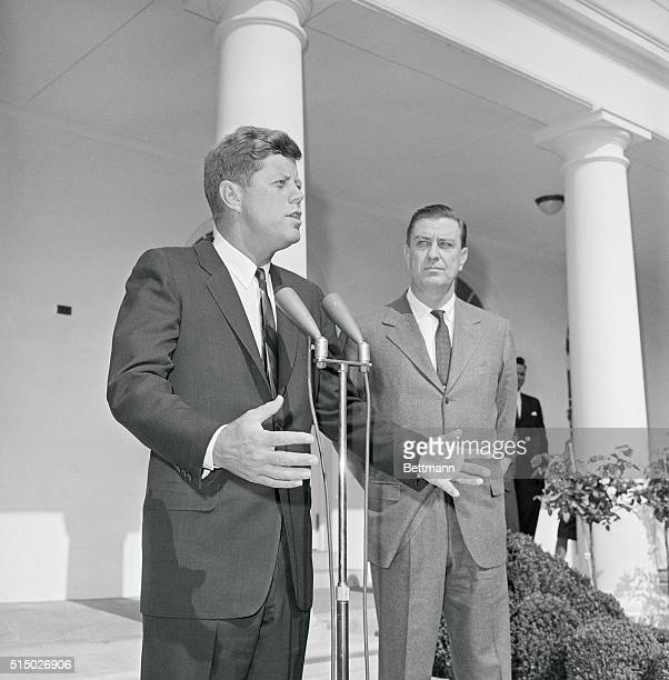 President John F Kennedy speaks before a delegation of livestock producers at the White House After the meeting with the group Kennedy held a...
