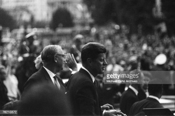 President John F Kennedy stands before an adoring crowd at Rudolph Wilde Platz before his famous 'Ich bin ein Berliner' speech on June 26 in Berlin...