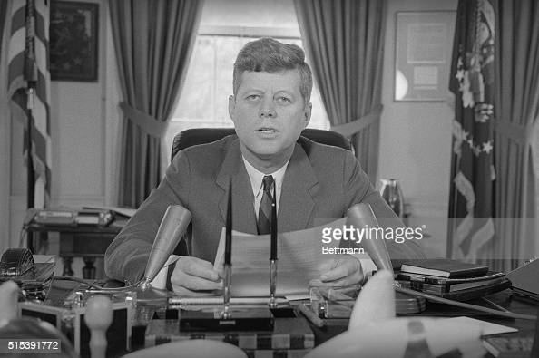 President John F. Kennedy today broadcasts a message of ...