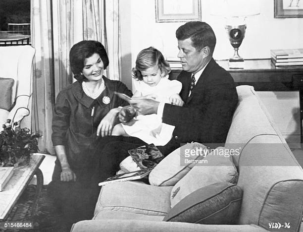 US President John F Kennedy with his wife Jackie and their daughter Caroline