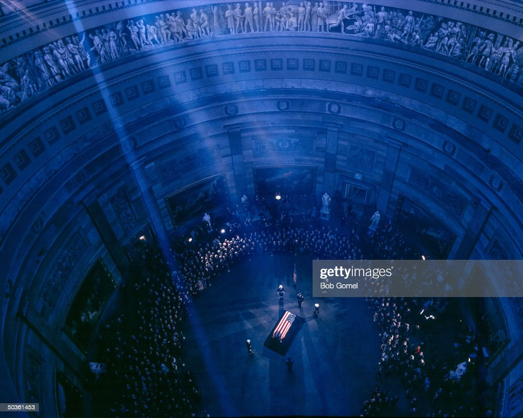 President John F. Kennedy's flag-draped coffin, Capitol Rotunda, Washington, D.C.