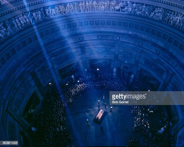 President John F Kennedy's flagdraped coffin Capitol Rotunda Washington DC