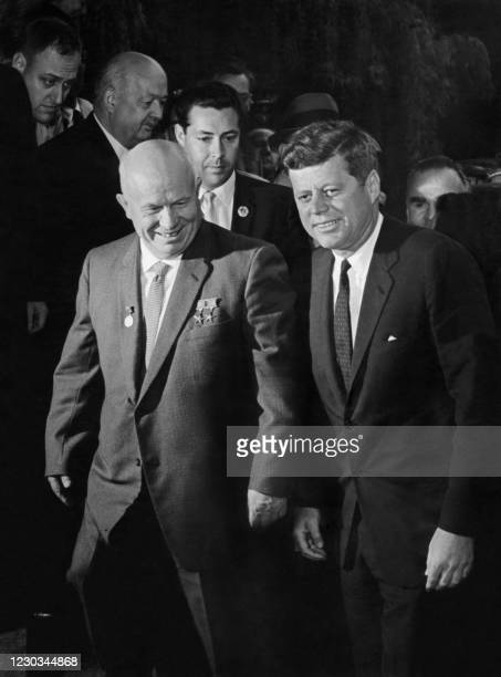 President John Fitzgerald Kennedy and USSR leader Nikita Sergeyevich Khrushchev head to their first meeting 03 June 1961 at the start of the...
