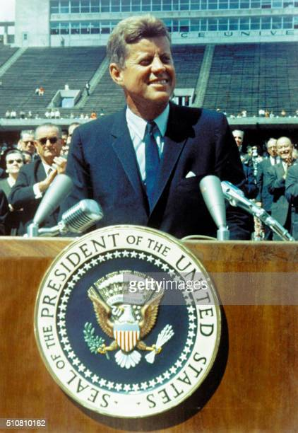 """President John Fitzgerald Kennedy gives a speech on the Nation's Space effort at Rice University in Houston, Texas, on September 12, 1962 saying """"We..."""
