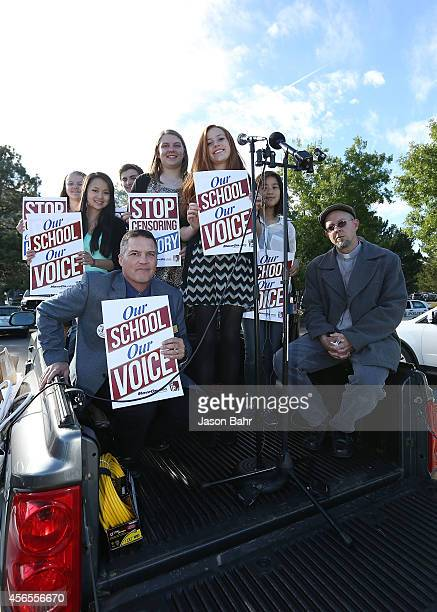President John Ford sits with student speakers during a protest at JEFFCO Public Schools on October 2 2014 in Golden Colorado