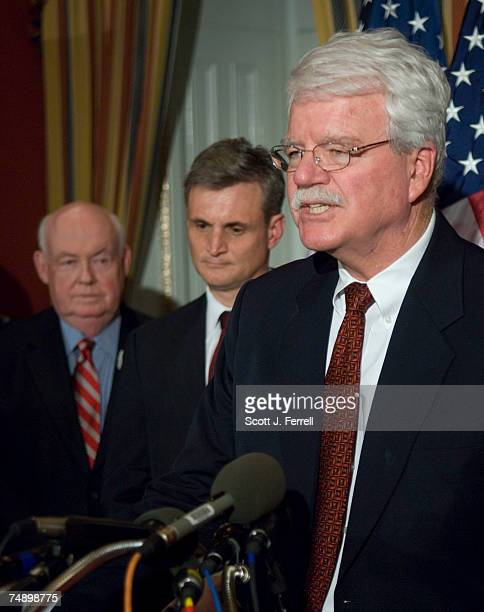 President John J Sweeney Rep Robert E Andrews DNJ and House Education Labor Chairman George Miller DCalif during a news conference after the House...