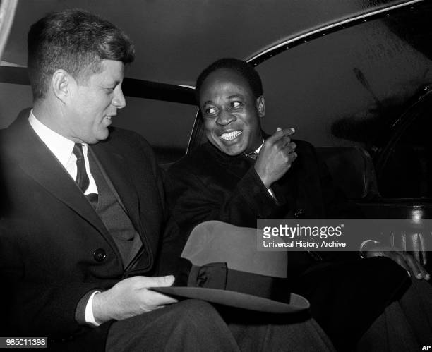 President John Kennedy with Kwame Nkrumah, President of Ghana in 1961 during Nkrumah's visit to the USA.