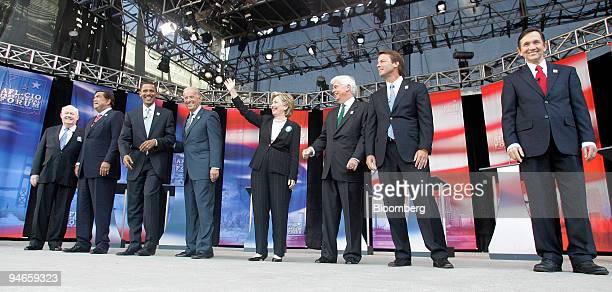 President John Sweeney left shares the stage with Presidential candidates from left to right Governor Bill Richardson US Senator Barack Obama Senator...