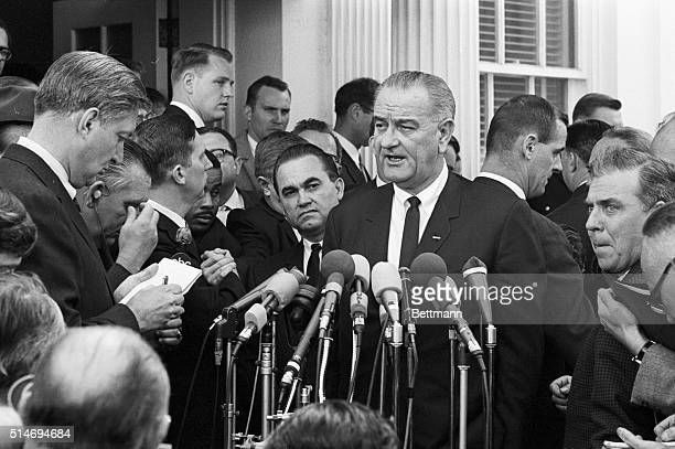 President Johnson and Alabama Governor George Wallace speak to reporters on March 13 1965 Wallace and Johnson met for three hours previously...