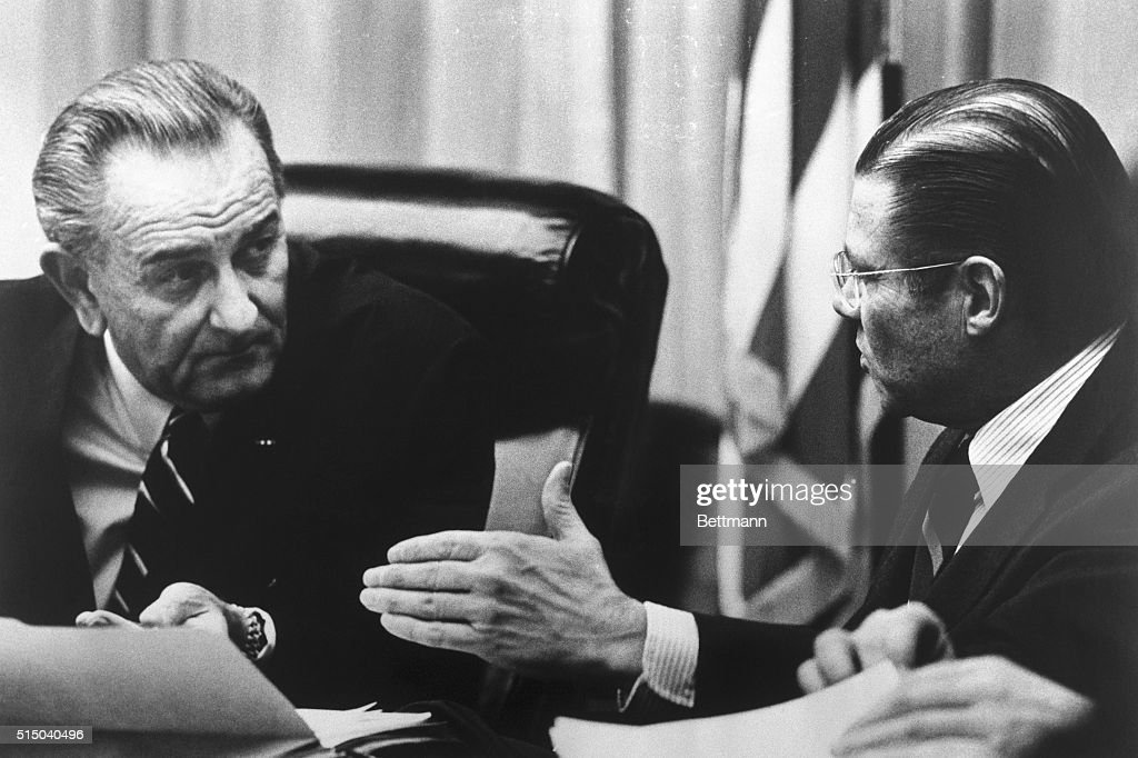 President Johnson confers with Defense Secretary McNamara during a meeting of the National Security Council at the Executive Mansion 1/24, in this photo released by the White House. The Council discussed the seizure on the high seas of the USS Pueblo by North Korea.