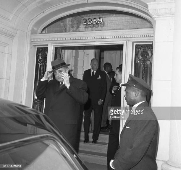 President Johnson leaves the apartment of the late Supreme Court Justice Felix Frankfurter after attending a private memorial service for Frankfurter...