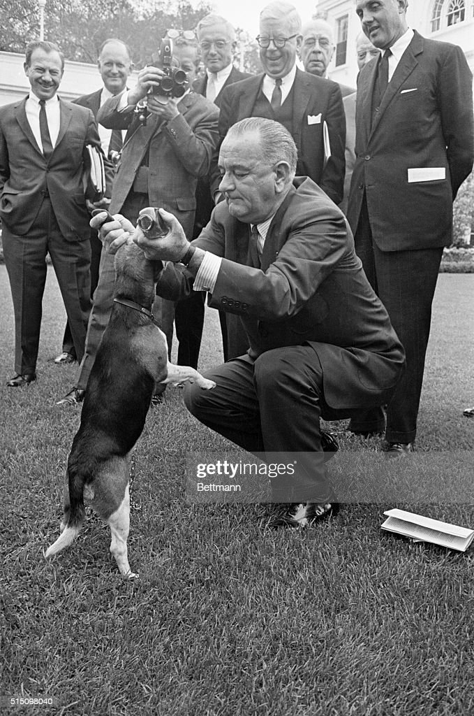 President Johnson Lifts Beagle by the Ears : News Photo