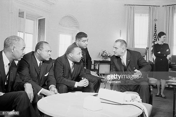 President Johnson meets with four leaders of the civil rights movement discussing the president's war on poverty and the effect of poverty on the...