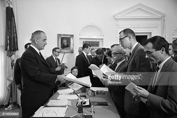 President Johnson meets with the press in his White House office here He announced a fivepoint program for fighting inflation and bringing down...