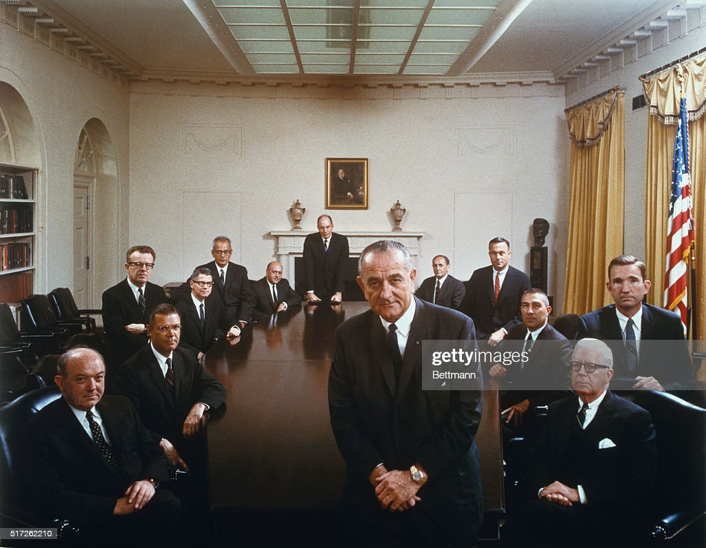President Johnson Poses With His Cabinet In This Color Photo Taken By The White  House Last