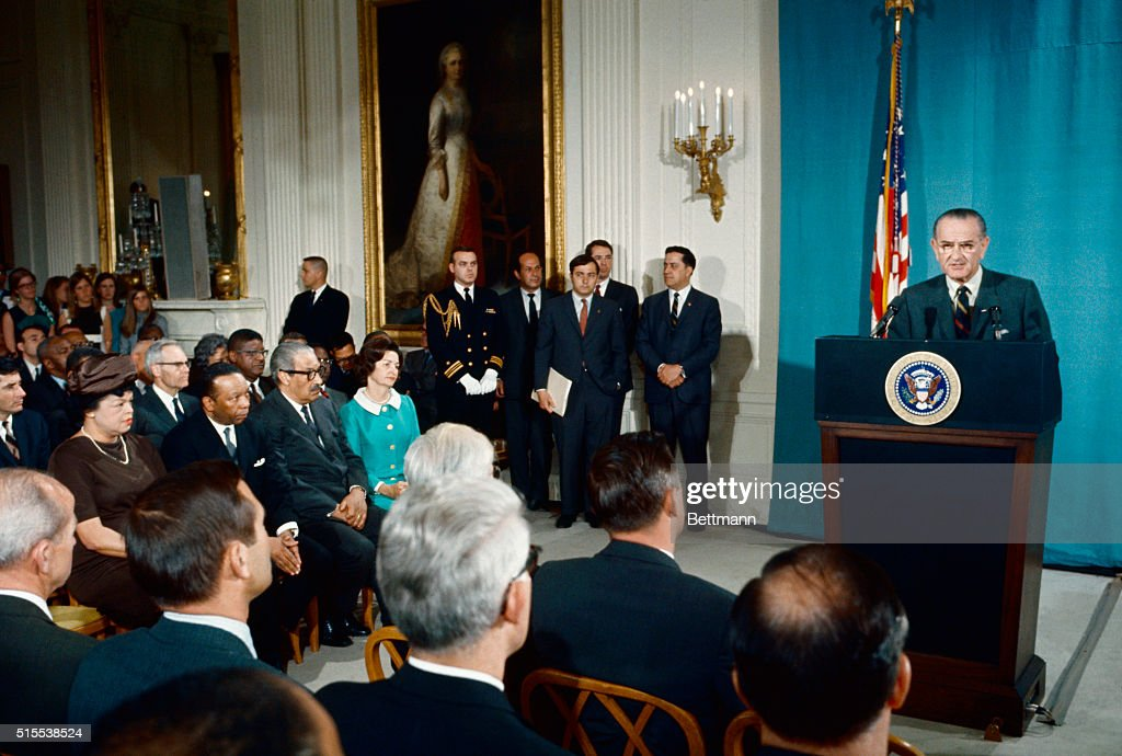 President Johnson speaking after signing the Civil Rights bill into law.