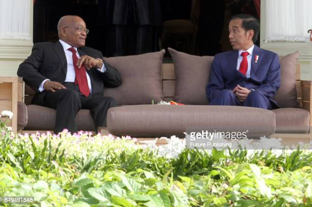 President Joko Widodo and President of the Republic of South Africa Mr Jacob Zuma during a state visit at Merdeka Palace on March 08 2017 in Medan...