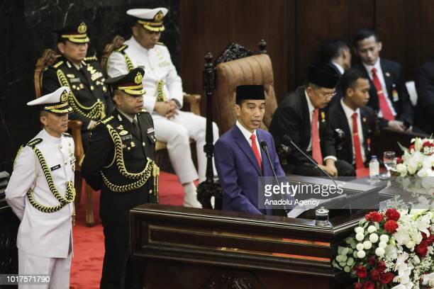 President Joko Widodo delivers his presidential speech at the annual meeting of Peoples Consultative Assembly and Regional Representatives Council in...