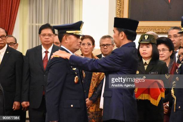 President Joko Widodo inaugurates Yuyu Sutisna during an inauguration ceremony at the State Palace in Jakarta Indonesia on January 17 2018 The...