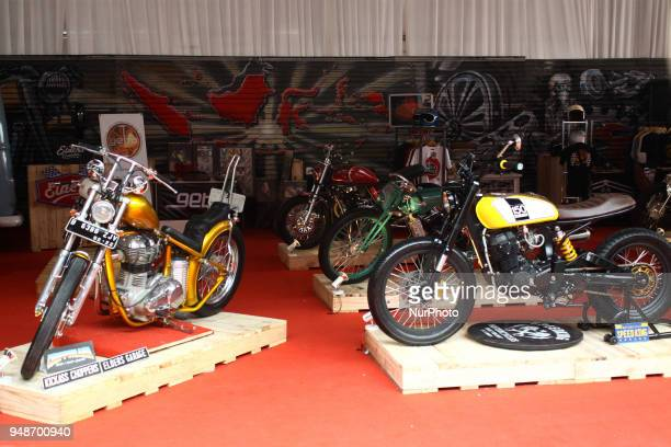 President Jokowi's motorcycle the 350 cc Gold Chopper style from Royal Enfield Bullet Cars displayed during the Indonesian International Motor Show...