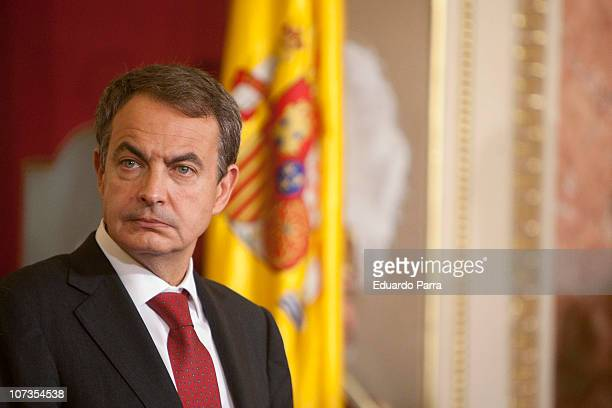 President Jose Luis Rodriguez Zapatero attends the 32nd anniversary of the Spanish Constitution at Congress of Deputies on December 6 2010 in Madrid...