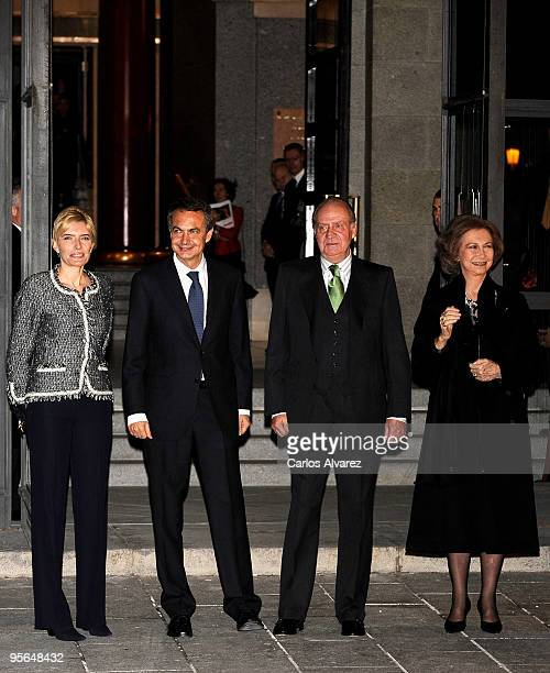President Jose Luis Rodriguez Zapatero his wife Sonsoles Espinosa King Juan Carlos of Spain and Queen Sofia of Spain attend Inaugural Gala of the...