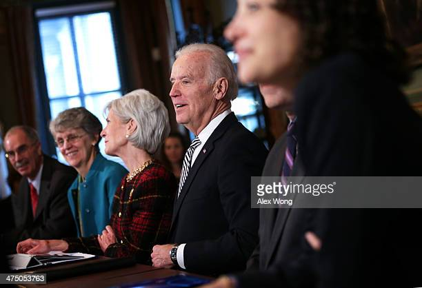 S President Joseph Biden leads a listening session with college presidents as part of the White House Task Force to Protect Students from Sexual...