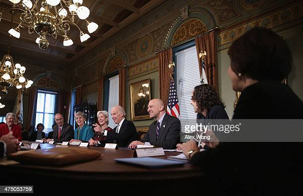 S President Joseph Biden speaks as he leads a listening session with college presidents as part of the White House Task Force to Protect Students...