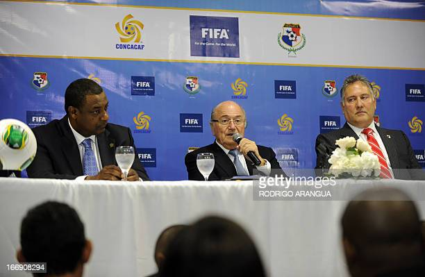 President Joseph Blatter accompanied by the President of the Panamanian Football Federation Pedro Chaluja and CONCACAF President Jeffrey Webb speaks...