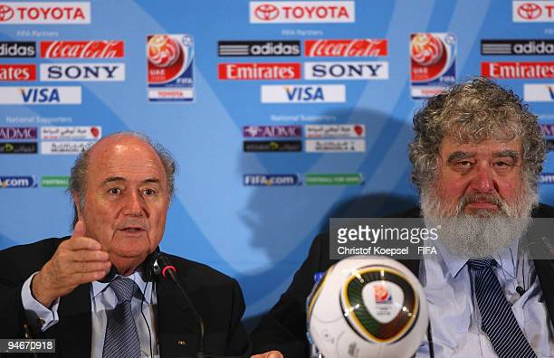 FIFA president Joseph Blatter and Chuck Blazer chiarman of FIFA Club World Cup organising committee attend a press conference held by the FIFA...
