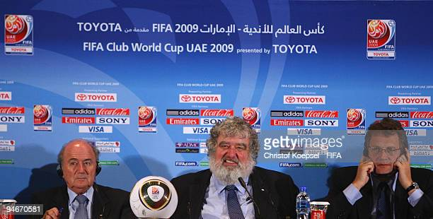 FIFA president Joseph Blatter Chuck Blazer chiarman of FIFA Club World Cup organising committee and FIFA general secretary Jerome Valcke attend the...