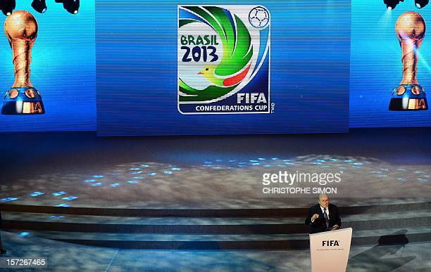 President Joseph Blatter gives a speech during the draw for next June's Confederations Cup Brazil 2013 a dress rehearsal for the 2014 World Cup...