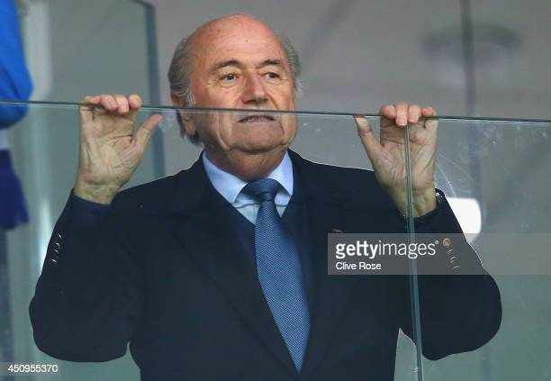 President Joseph Blatter looks on during the 2014 FIFA World Cup Brazil Group E match between Honduras and Ecuador at Arena da Baixada on June 20...