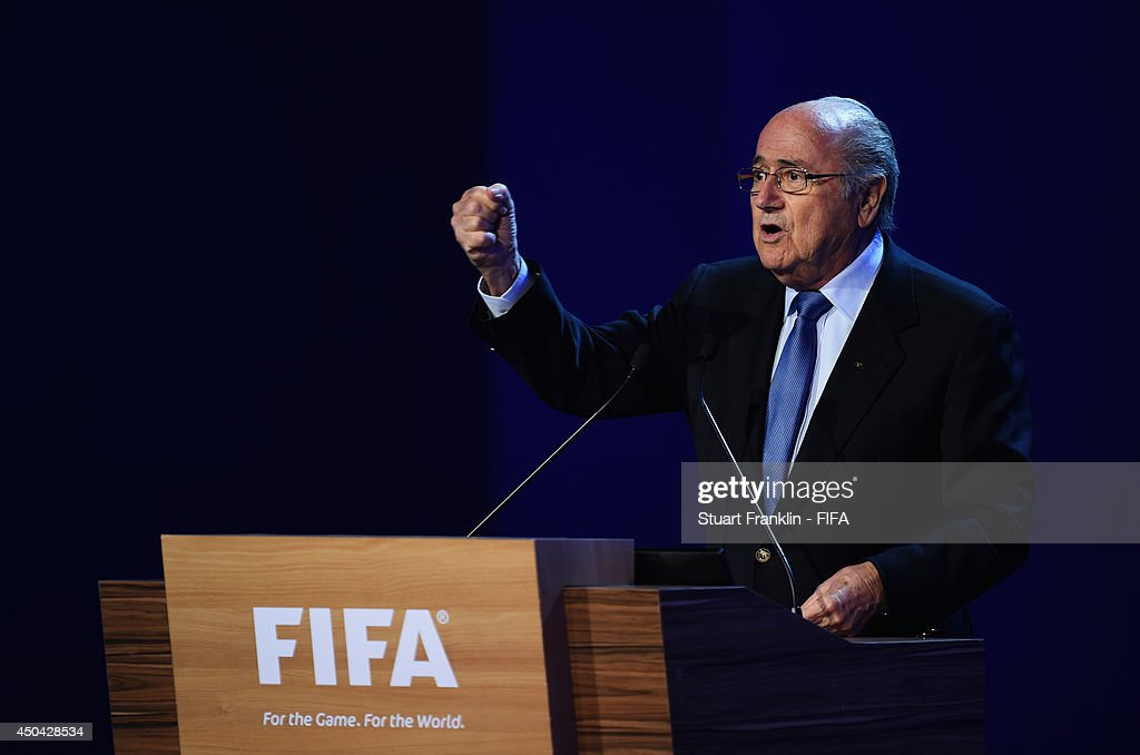 President Joseph Blatter speaks during the 64th FIFA Congress at the Transamerica Expo Center on June 11, 2014 in Sao Paulo, Brazil.