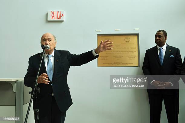 President Joseph Blatter speaks during the inauguration of the new headquarters of the Panamanian Football Federation at the Irving Saladino Sports...