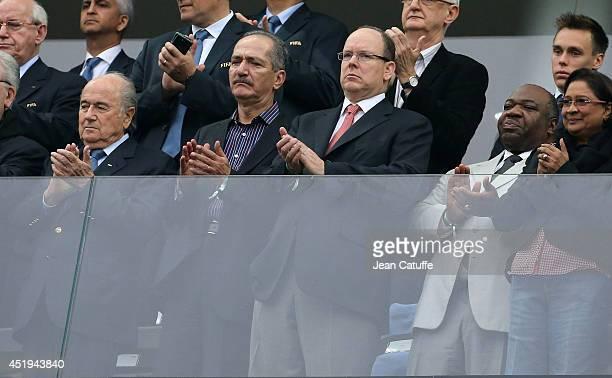 President Joseph Blatter Sports Minister of Brazil Aldo Rebelo Prince Albert II of Monaco and President of Gabon Ali Bongo Ondimba attend the 2014...