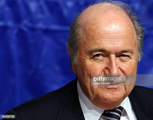President Joseph Blatter talks at the FIFA Executive Committee Press Conference at the Westin Hotel Tokyo on December 20, 2008 in Tokyo.