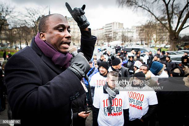 AMT President Joseph Francois speaks to nonlicensed private hire cab drivers known in France as VTC at the Place de la Nation during a protest on...