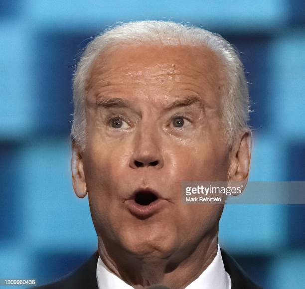 """President Joseph """"Joe"""" Biden addresses the delegates from the podium during the 3rd day of the Democratic National Nominating Convention in the Wells..."""