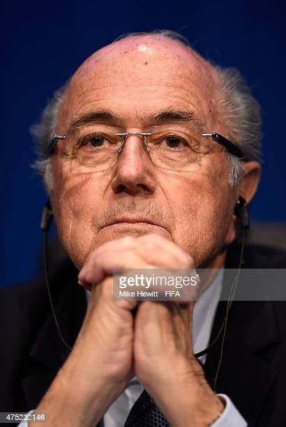 President Joseph S. Blatter addresses the media during the post 65th FIFA Congress press conference at FIFA Headquarters on May 30, 2015 in Zurich,...