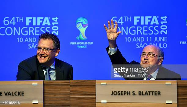 President Joseph S Blatter and FIFA General Secretary Jerome Valcke look happy during the press conference after the 64th FIFA Congress at TEC on...