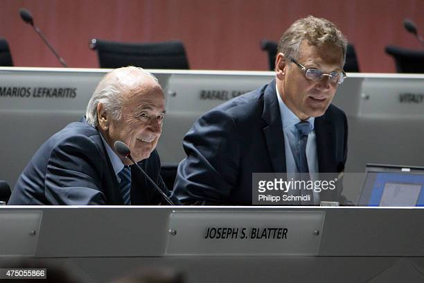 President Joseph S Blatter and FIFA Secretary General Jerome Valcke look on prior to the 65th FIFA Congress at Hallenstadion on May 29 2015 in Zurich...