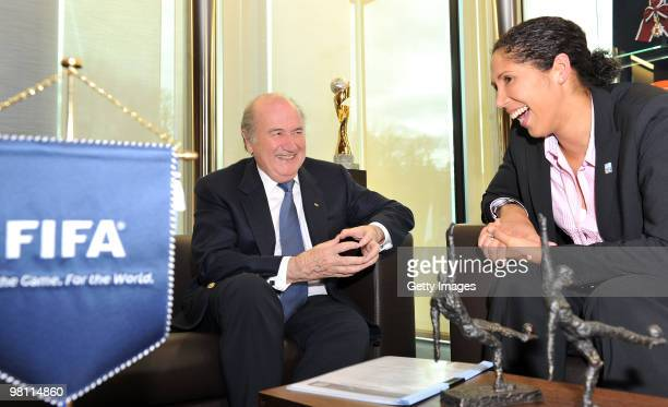 President Joseph S Blatter and FIFA Women's World Cup 2011 Organising Committee President Steffi Jones laugh during the Fifa Meeting at the Fifa...